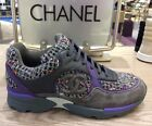 CHANEL PURPLE GRAY TWEED SUEDE SNEAKERS SHOES TRAINERS 36.5/37.5