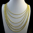 FINE STERLING SILVER G/P DIAMOND CUT VALUE ROPE CHAIN NECKLACE 3.5 MM14~26 INCH