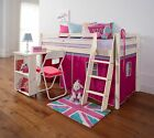 Cabin Bed Midsleeper Kids Bunk Bed with Desk and Tent in Choice of Colours