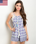 Women Off White Royal Blue and Pink Mixed Print Romper Casual Club Sexy S-L