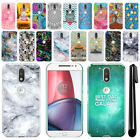 "For Motorola Moto G4/ G4 Plus 5.5"" XT1625 Art Design Hard Case Back Cover + Pen"