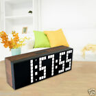 Led Wooden Large wall Clock Digital Alarm Watch Thermometer Big Number