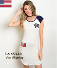 Women Casual Sleeveless Ivory Navy American Flag Dress S-L