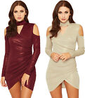 Womens Lurex Choker Neck Party Dress Ladies Cut Out Cold Shoulder Wrapover 8-14