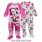 MINNIE MOUSE Girls 2T 3T 4T Footed Holiday Pajamas BLANKET SLEEPER Pjs Disney