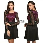 2016 Women Casual O-Neck Long Sleeve Lace Patchwork Dress TXSU