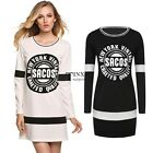Women Ladies Splicing O-Neck Long Sleeve Loose Casual Mini Shift Dress TXSU