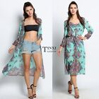 Women Boho Long Maxi Evening Party Dress Beach Dresses Floral Chiffon Dress TXSU
