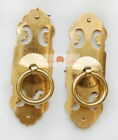 A Pair Chinese Furniture Hardware Brass Cabinet Strip Pull Handle Knobs 3.4""