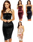 Womens Crushed Velour Party Dress Ladies Caged Strappy Sleeveless Bustier 8-14