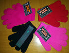 NEW Boys Girls Kids Plain Stretchy Magic Gloves ~ ONE SIZE Black Pink Cerise Red