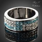 Platinum Plated Blue and Transparent Swarovski Element Crystal Ring/Band R183-17