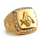 Iced Out Gold Lab Diamond Hiphop Ring 14k Gold Freemason 13mm Unisex Pinky Ring