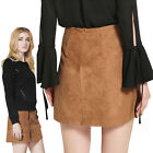 Tan Ladies High Waist Lace Up Suede Leather Strap Short A-Line midi Skirt Dress