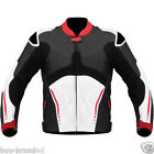 Black and White Cowhide Motorbike Leather Jacket Motorcycle Racing ALL-SIZE