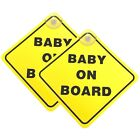 Baby On Board SAFETY Car Window Suction Cup Yellow REFLECTIVE Warning Sign 5x5""