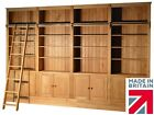 Traditional Solid Oak 8ft x 12ft Heavy Duty Library Bookcase with Ladder & Doors