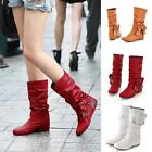 Women's Low Heel Mid-Calf Bowknot Boots New Selling Flat Casual Synthetic Shoes