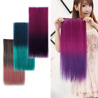 Nice Full Head Gradient Rainbow Curly Straight Synthetic Clip in Hair Extensions