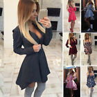 Womens Girls Long Sleeve Ladies Party Mini Swing Skater Dress Fashion Party New