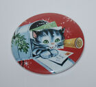 KITTEN HIDING IN MAILBOX MAGNET or PIN BUTTON Christmas Cat Vintage Holiday Art