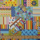 HEAVY COTTON CANVAS VW CND PATCHWORK CAMPERVAN UPHOLSTERY CURTAIN CUSHION FABRIC