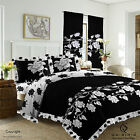Duvet Cover with Pillow Case Quilt Cover Bedding Set Frilled Edge Richmond Black