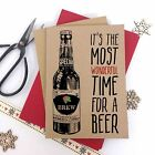 6/10 Luxury personalised kraft christmas cardsTIME FOR A BEER ADULT envelopes
