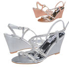Ladies Glitter Wedge Sandals Bridal Wedding Evening Dress Party Shoes