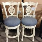 2 Frontgate Provencal Carved Grape White NAVY Barstool BAR stools chair 30""