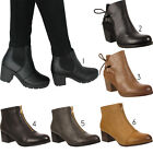 Ladies Womens Chelsea Work Office Casual Winter Block Heel Ankle Boots Size 3-8