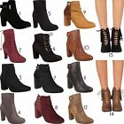 Womens Ladies Fuax Leather Suede Ankle Boots Block Mid High Heel Heel Shoes