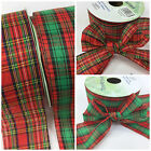Trendy Tartan red & green Christmas ribbon 50mm wide per 3 metres