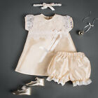 Designer Baby Girl Claire Champagne Silk Holiday Dress, Bloomers, & Headband