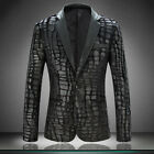 New Punk Mens Pu Leather Blazer Suit Black Slim One Button Jacket Coat Outwears