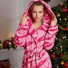 Avon Tiger Snuggle Robe Pink & White Fleece Dressing Gown Choose Your Size ~ New