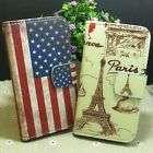 Retro US flag Paris Tower Wallet Pouch Stander flip case cover for Sony Phone