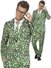 Mens Christmas Suit Brussel Sprout Santa Hat Funny Patterned Fancy Dress Costume