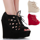 Ladies High Heel Wedges Platform Strappy Peeptoe Wedge Boots Sandals Shoes Size