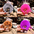 Luxury Bling Diamond Cat Warm Soft Clear Rabbit Fur Case Cover with Neck Strap