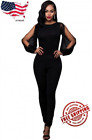 Women Sexy Black Sheer Split Long Sleeve Open Back Club Party Jumpsuit S-L