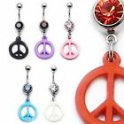 Belly Bar Dangling Peace Symbol Drop Navel Ring Crystal Body Piercing Barbell