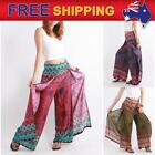 AU Women Palazzo Harem Pants Paisley Flower Wide Leg Baggy Trousers Hippie
