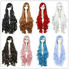 Womens Lady 100cm Synthetic Hair  Long Curly  Anime Cosplay Wig Perruque
