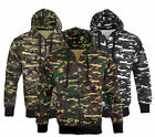 Mens Army Military Camo Camouflage Zip Hoodie Hooded Jacket Fishing Top S-XXL