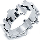 New Style 925 Sterling Silver Iron Cross Biker Rock Wedding Band Ring Size 6-12