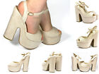Women Cream Block Wedge Chunky Platform High Heel Ankle Strap Party Shoes Size