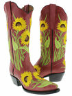 Womens Red Western Leather Cowboy Cowgirl Sunflower Summer Boots Snip Toe New