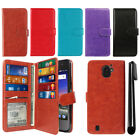 For ZTE Citrine LTE Z716G Z717VL Z716BL Flip Card Holder Wallet Cover Case + Pen