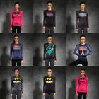 Women 3D Compression Superhero T-shirts Long Sleeve Costume Sport Bicycle Jersey